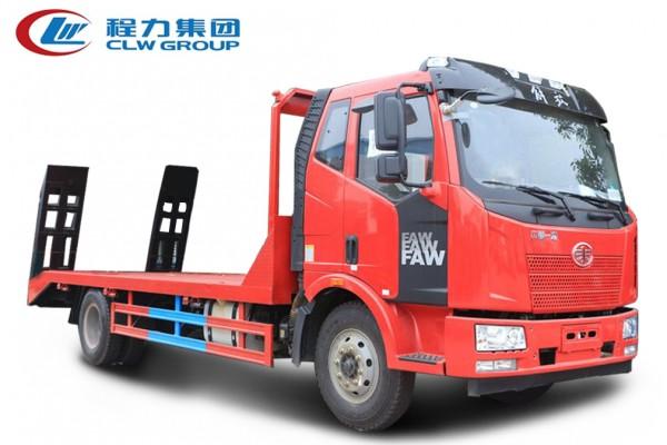 4X2单桥黄牌【10-15吨】【拖150型号挖机及以下】平板运输车