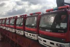 程力集团:86台庆铃消防车出口,港口装船,整装待发!